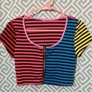 Rainbow Candy Stripe Zip Crop Top